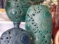 Krásna ozdobná keramika v modrej a zelenej farbe