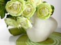 Biela keramika so zelenýmii kvetmi