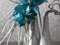 Keramivká váza biela s tyrkysovými kvetmi 1.