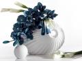 Keramivká váza biela s tyrkysovými kvetmi 2.