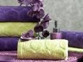 Uteráky  zelené a fialové s potlačou