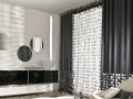 Krásna záclona s moderným závesom tmavo sivej farby